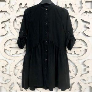 ZARA BLACK BABY DOLL/SHIRT DRESS.